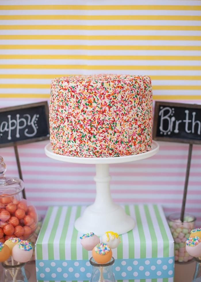 Go daring and cover your entire cake in sprinkles!