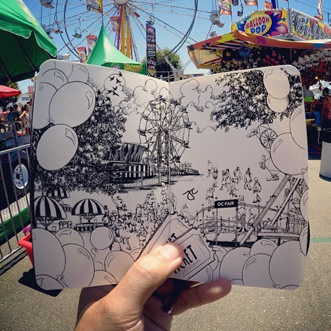 Sketch by @pentasticarts | #abstract #sketch #sketchbook #sketching #art #creative #instagood #love #ferriswheel #fair #pen #graphicart #graphic