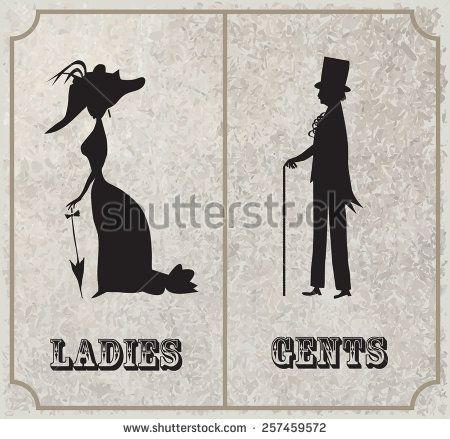 lady and gentleman symbol toilet sign in vintage style segnaletica wc pinterest. Black Bedroom Furniture Sets. Home Design Ideas