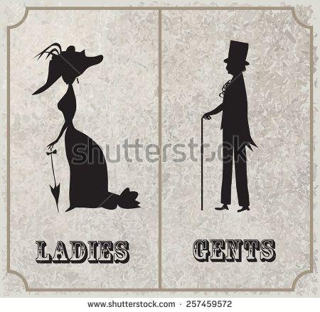 lady and gentleman symbol toilet sign in vintage style segnaletica wc pinterest. Black Bedroom Furniture Sets. Home Design Ideas
