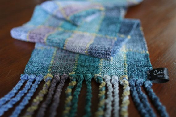 Wrap yourself in soft luxury..    This luxurious, chenille scarf is from my Soft, Stained-Glass series. I have woven with 5 different soft blues