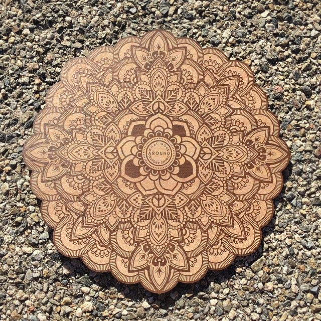 "What Goes Around Comes Around | Sample | 9"" Laser Cut & Engraved on a Stained Maple Wood  #arttechnologyanddesign #mandala #handclicked #thedesigntip #ligaturecollective #goodtype #lasercut #laserengraved #lasercutting #adobe #anyfortyshowcase #vectorshaping #pixelpushing #fadehurricane by fadehurricane"