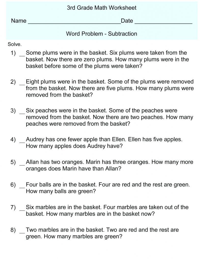 3rd Grade Math Word Problems Easy math worksheets, Word