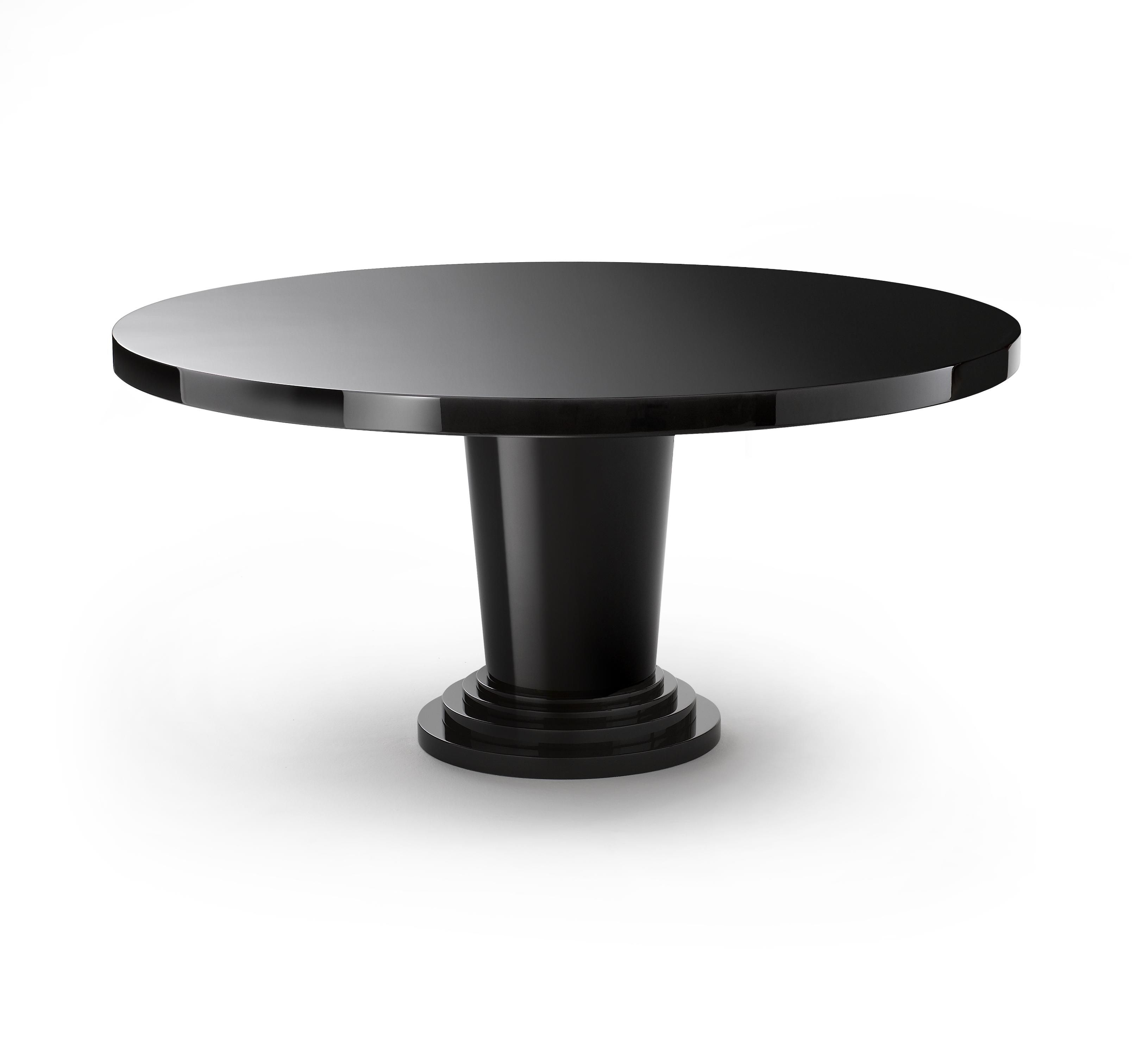 Table In High Gloss Black Lacquer, Round Black High Gloss Dining Table