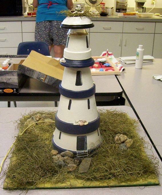 light house, made with terra cotta pots and a working light, Gift Ideas Project