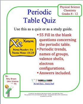 Periodic table quiz pinterest atomic number periodic table and this is a 55 question quiz on the periodic table all of the questions are urtaz Image collections