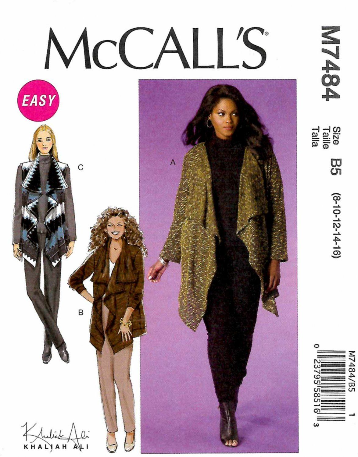 McCall\'s Sewing Pattern M7484 7484 Misses Size 8-16 Easy Khaliah Ali ...