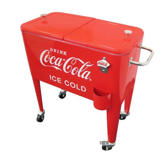 Coca cola collectible vintage style 60 qt rolling ice for 1 door retro coke cooler