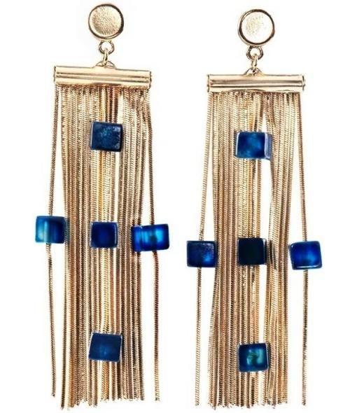 Drop fringe blue cross earrings by Caipora//