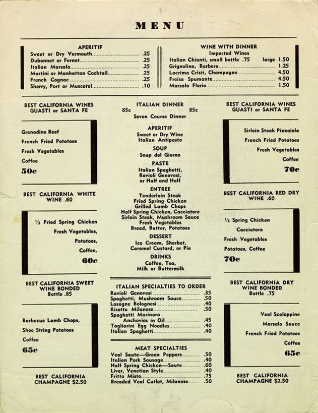 Pucci Cafe menu, 1930's, L A  (located where Dresden's is
