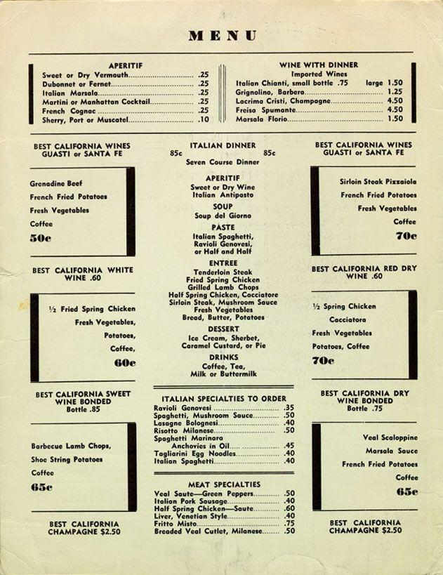 Pucci Cafe menu, 1930u0027s, LA (located where Dresdenu0027s is, today - italian menu