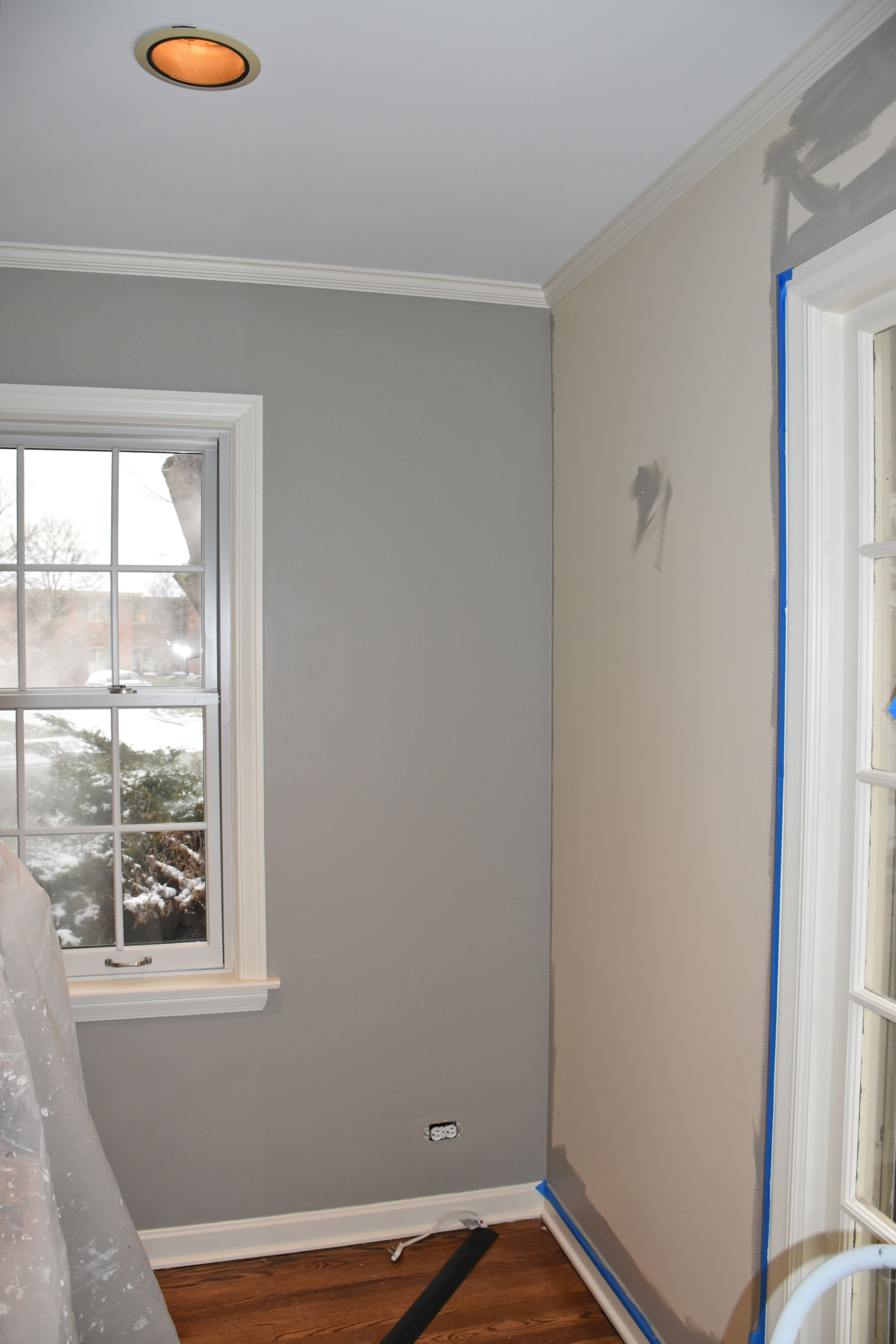 Plymouth Rock Paint From Benjamin Moore Blue And White Living Room