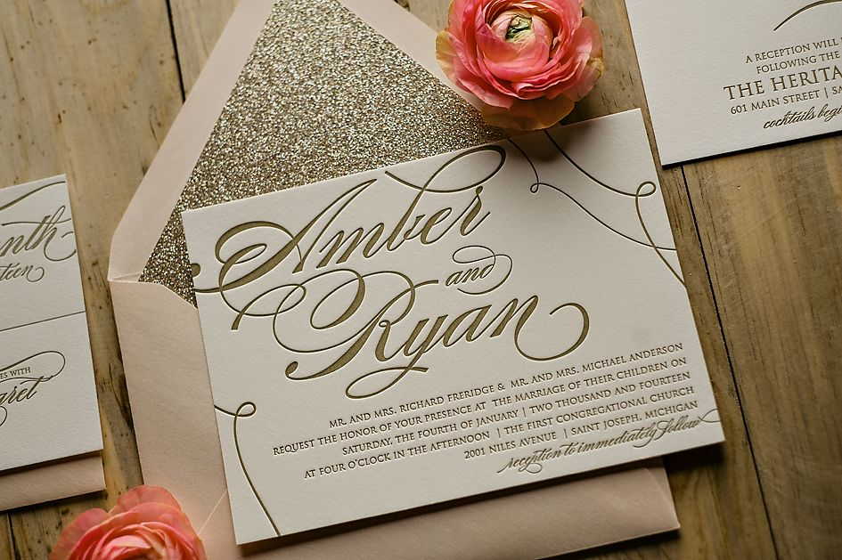 Pink And Gold Wedding Invitations Glitter Invitation Trends For 2017