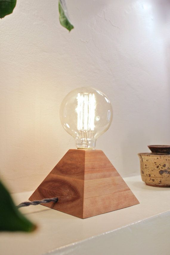 birch pyramid lamp exposed edison bulb desk light mid century modern table