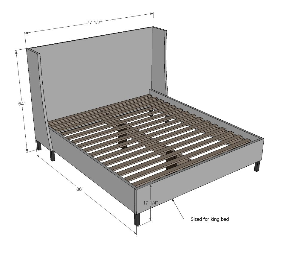 Diy king bed frame plans - Ana White Build A Morris Upholstered Bed California King Free And Easy Diy