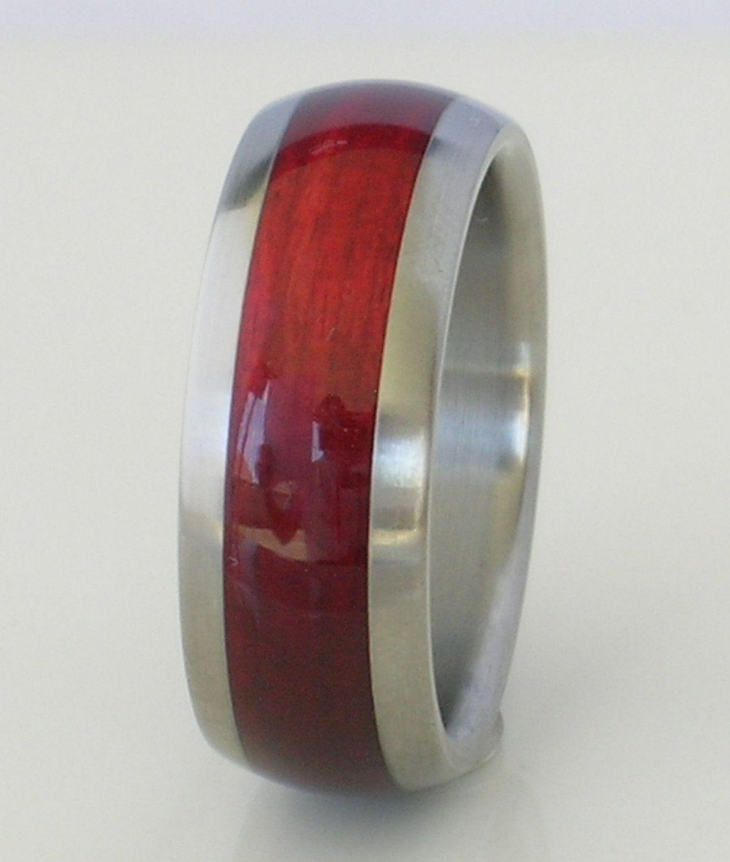 Tungsten Ring Cherry Bahama Wood Mens or Ladies Wedding
