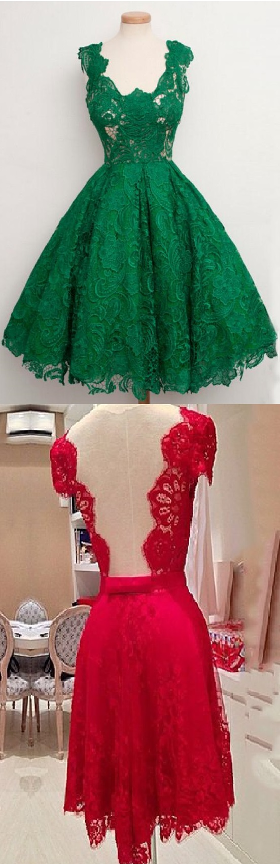Green prom dresses sleeveless v neck alineprincess lace short