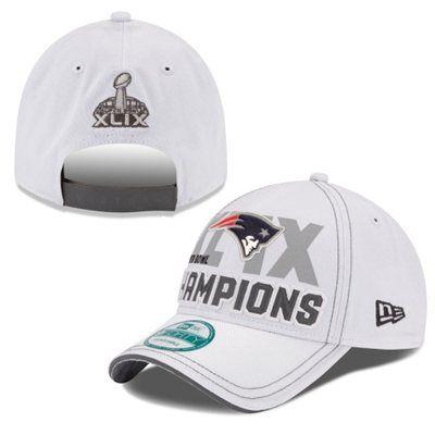 8722e9db5 Men s New England Patriots New Era White Super Bowl XLIX Champions Trophy  Collection Locker Room 9FORTY Adjustable Hat
