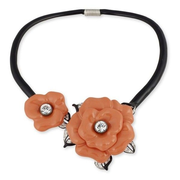Kenneth Jay Lane Black Collar Necklace With Coral Flowers Coral iQ5b18p