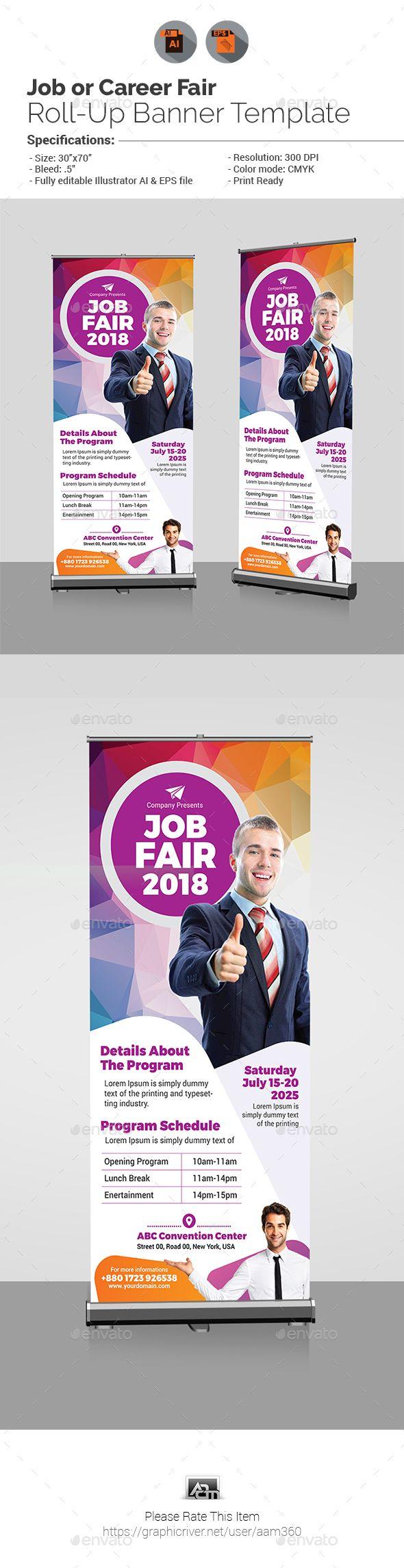 Design large banner in illustrator - Job Fair Roll Up Banner Template