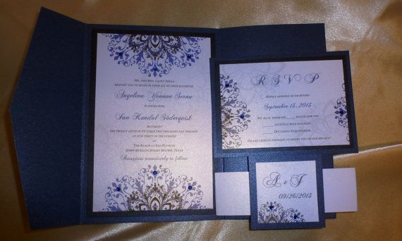 "navy blue- pocket fold luxury wedding invitation (sample) -"" a, Wedding invitations"
