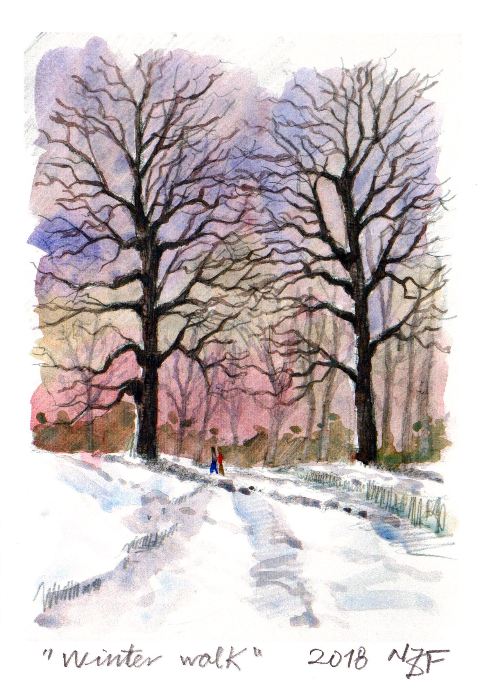 Watercolor Print Snow Painting Trees Wall Art Winter Print
