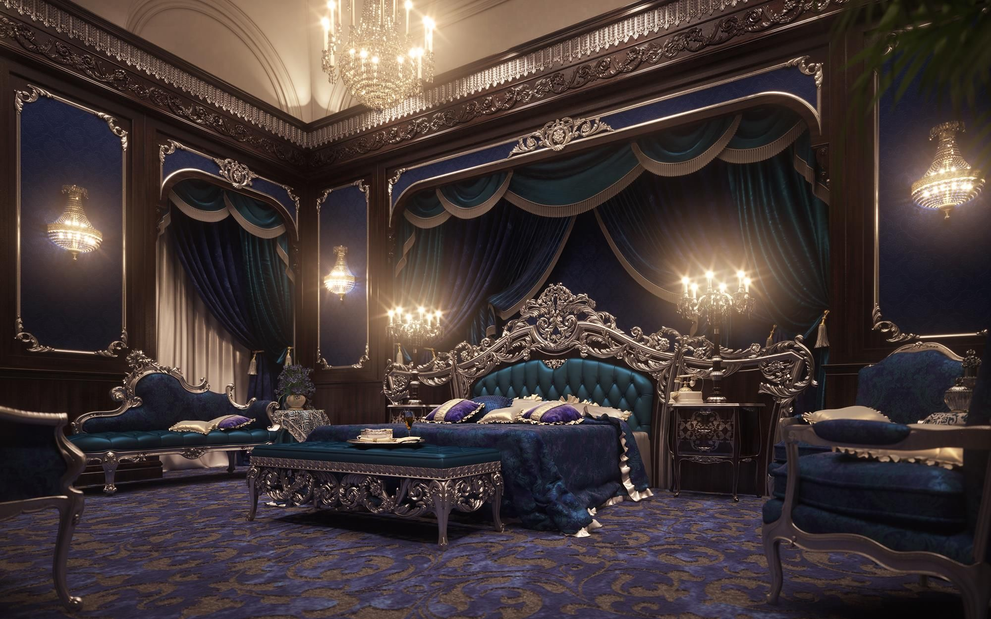 French Inspired Bedroom Decor, Royal European Luxury Bedroom .