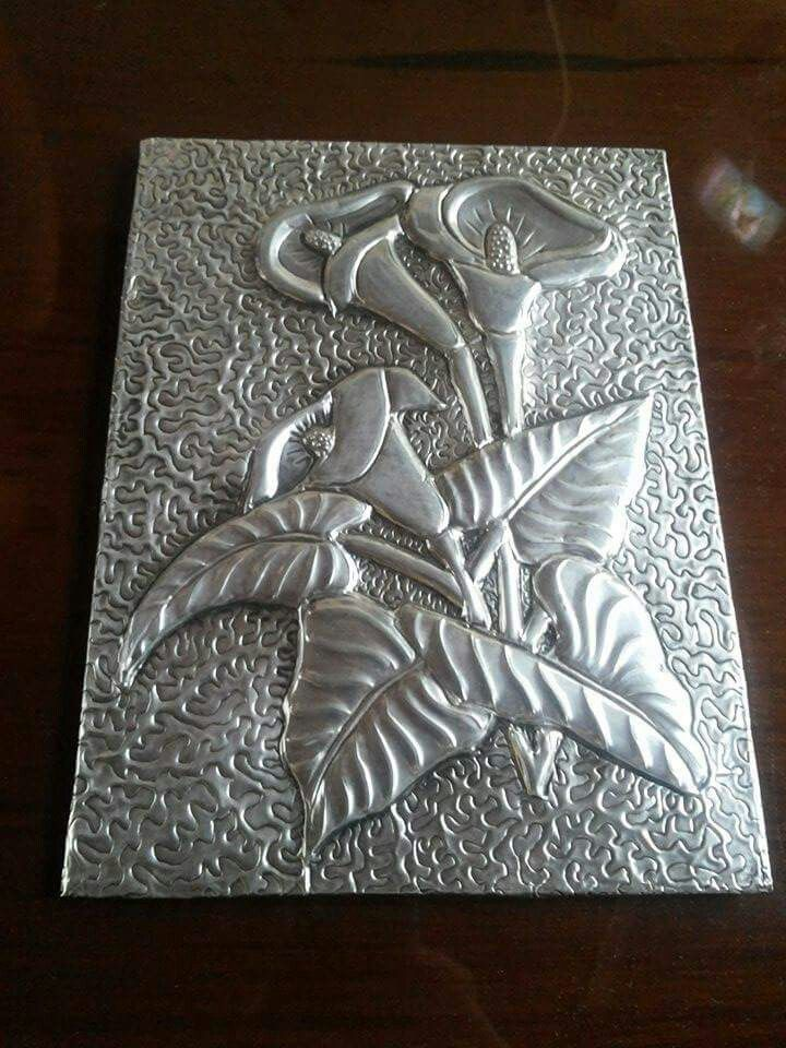 Pin De Yaneth Bolanos En Repujado En Aluminio Arte Con Papel De Aluminio Lamina De Aluminio Repujado En Metal
