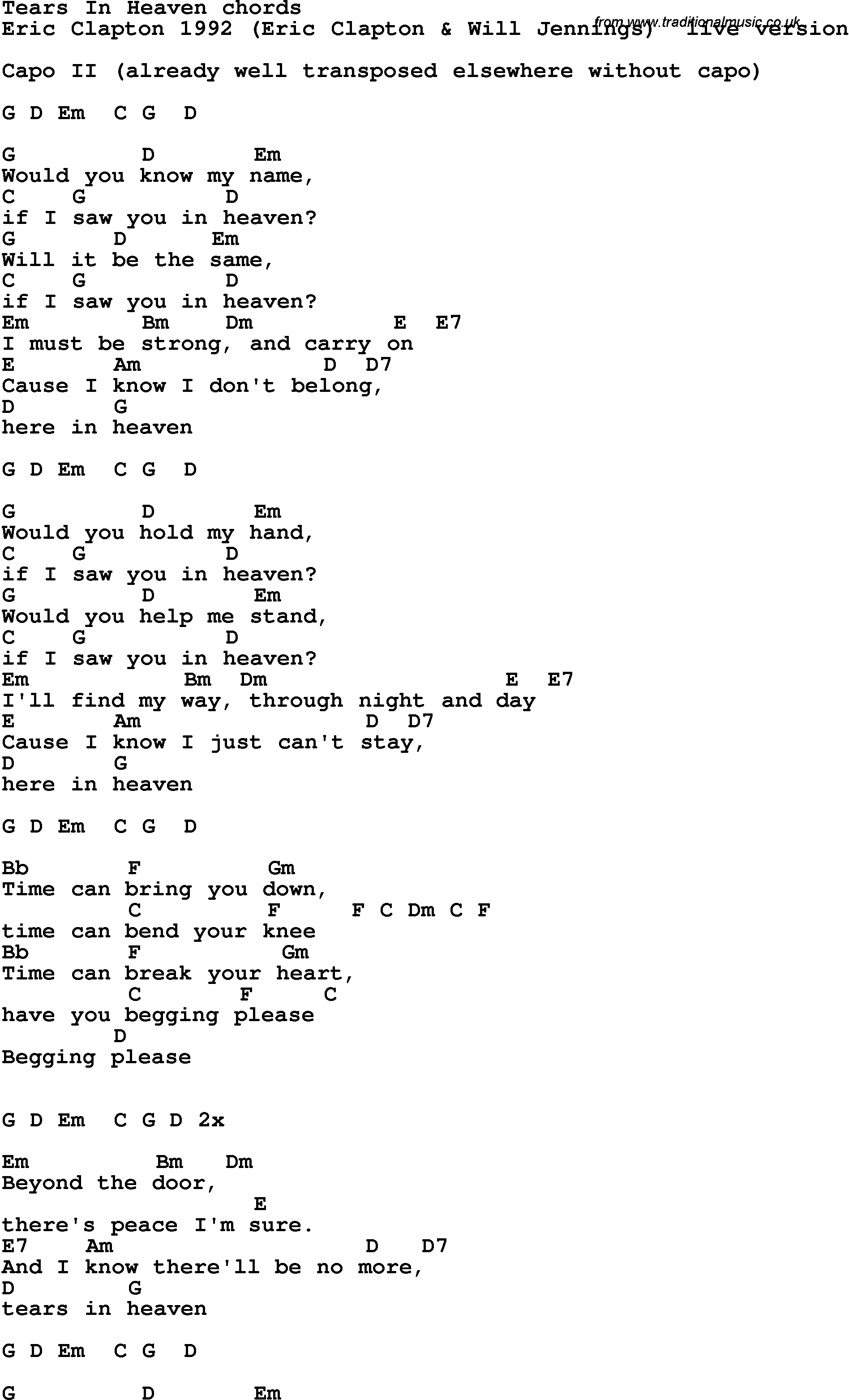 Song Lyrics With Guitar Chords For Tears In Heaven Eric Clapton