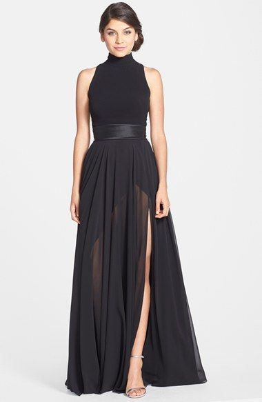6c08378f4d5 Free shipping and returns on Theia Mixed Media Turtleneck Gown at  Nordstrom.com. A chic turtleneck crowns this alluring gown with a touch of  edgy ...