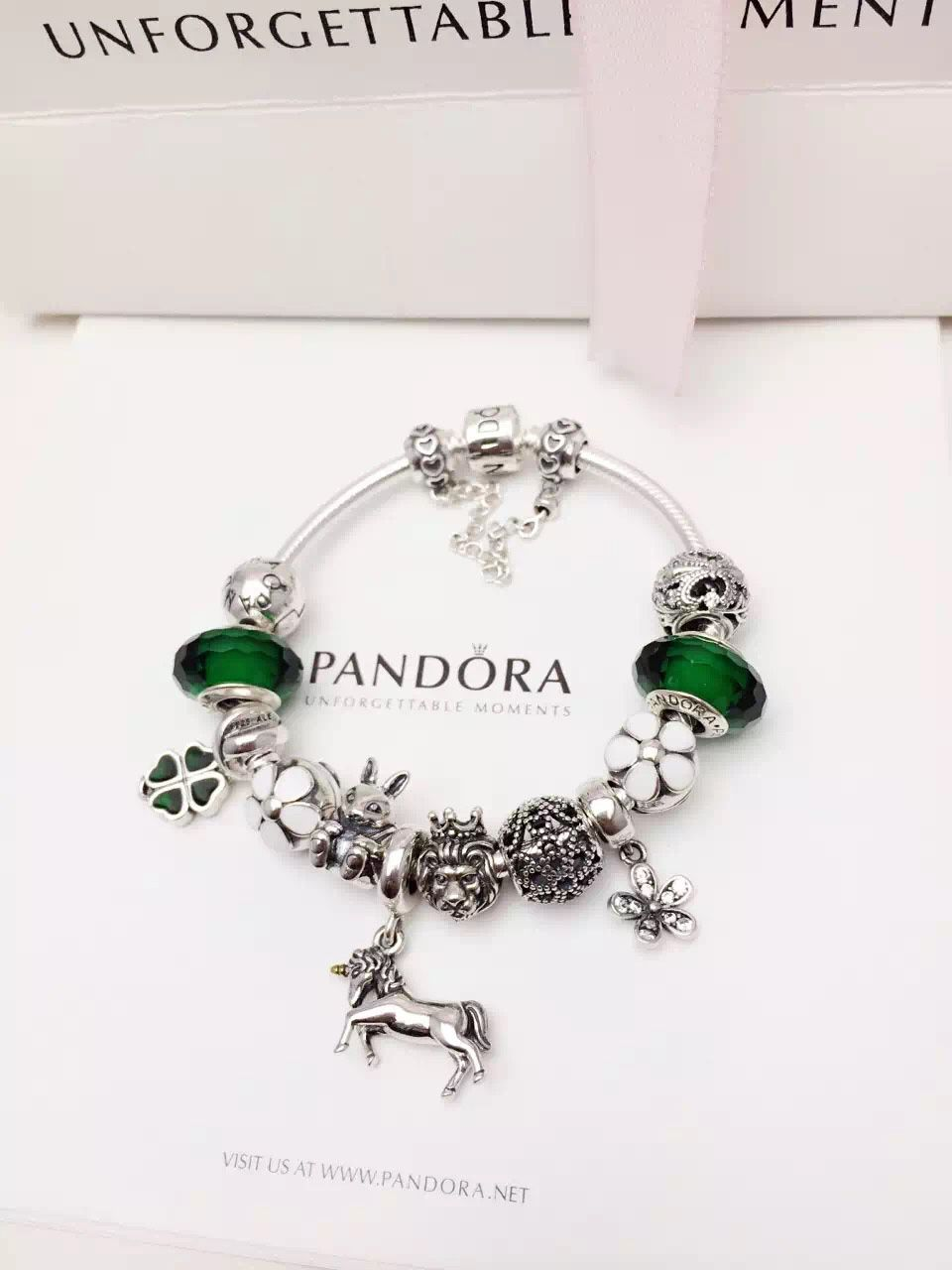 e9209cf43 50% OFF!!! $319 Pandora Charm Bracelet Green White. Hot Sale!!! SKU:  CB01998 - PANDORA Bracelet Ideas