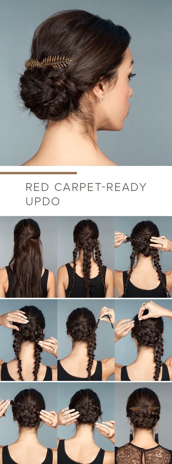 So easy and so stylish braided base for a cool updo long