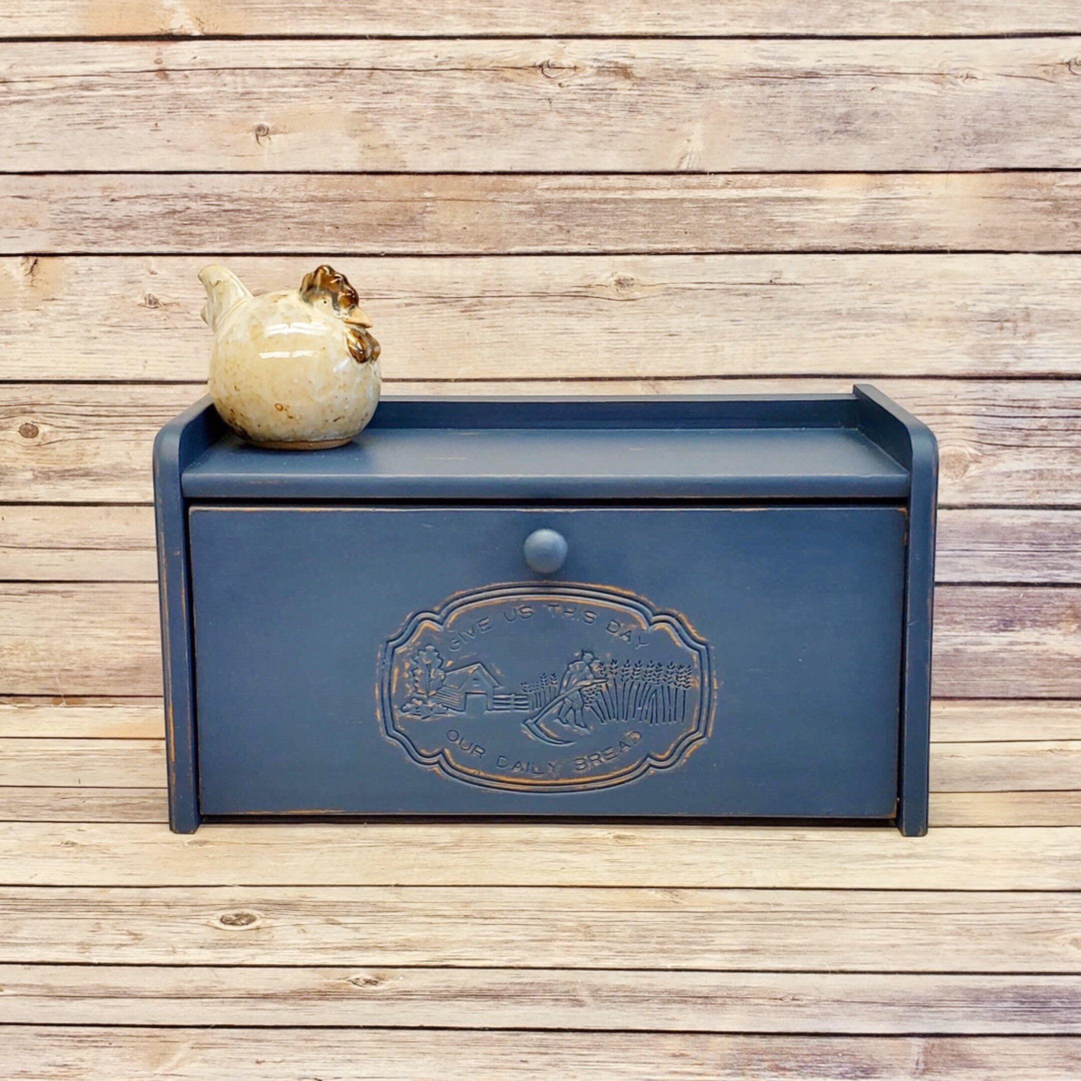 Wood Bread Box Refurbished Bread Box Navy Blue Bread