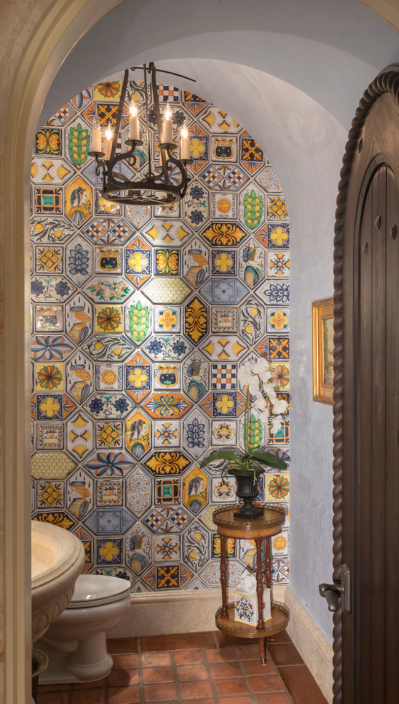 Spanish design powder room haciendas pinterest spanish rounded doors spanish tile and light dailygadgetfo Images