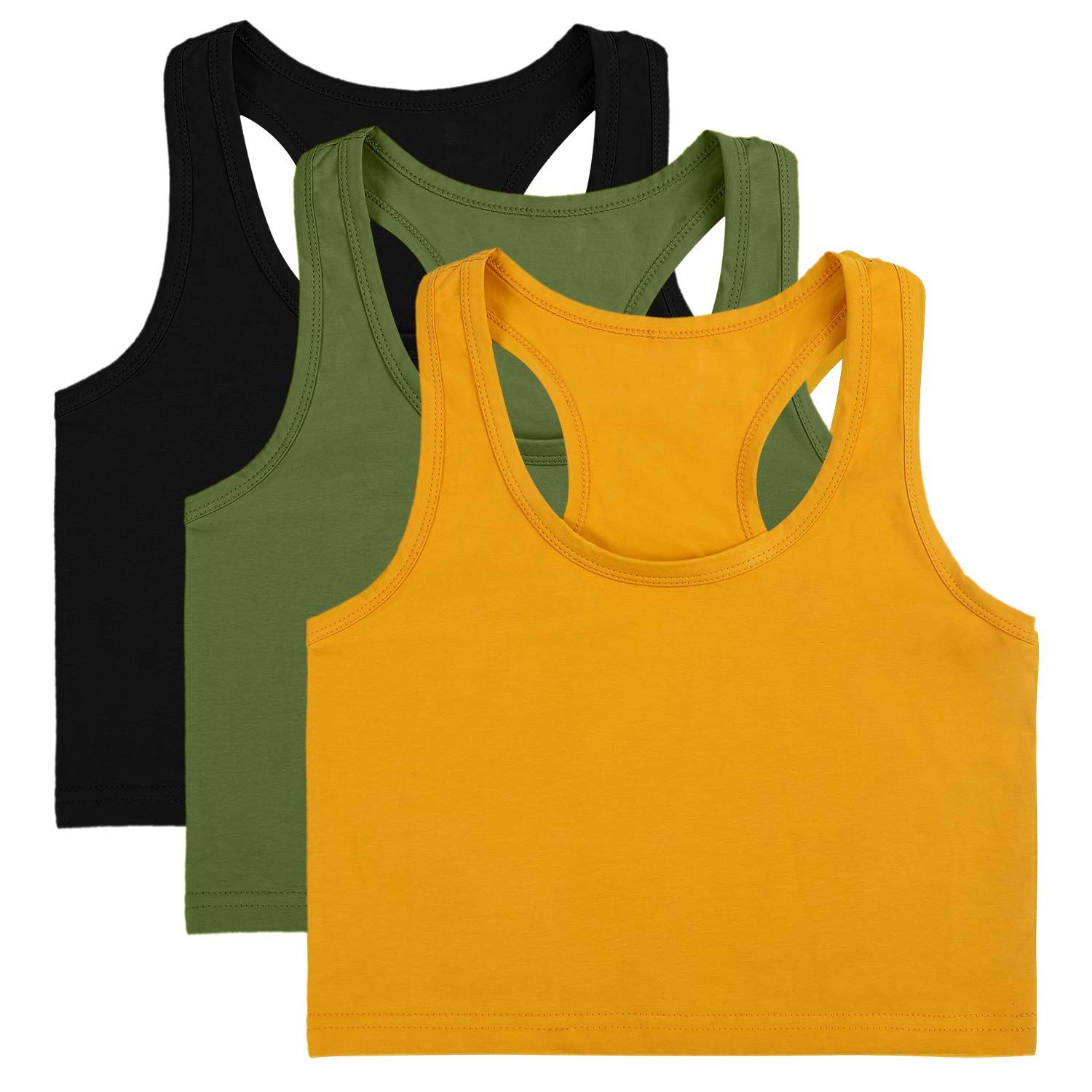 3 Style Cotton Basic Sleeveless Racerback Crop Tank Top Womens Sports Crop Top