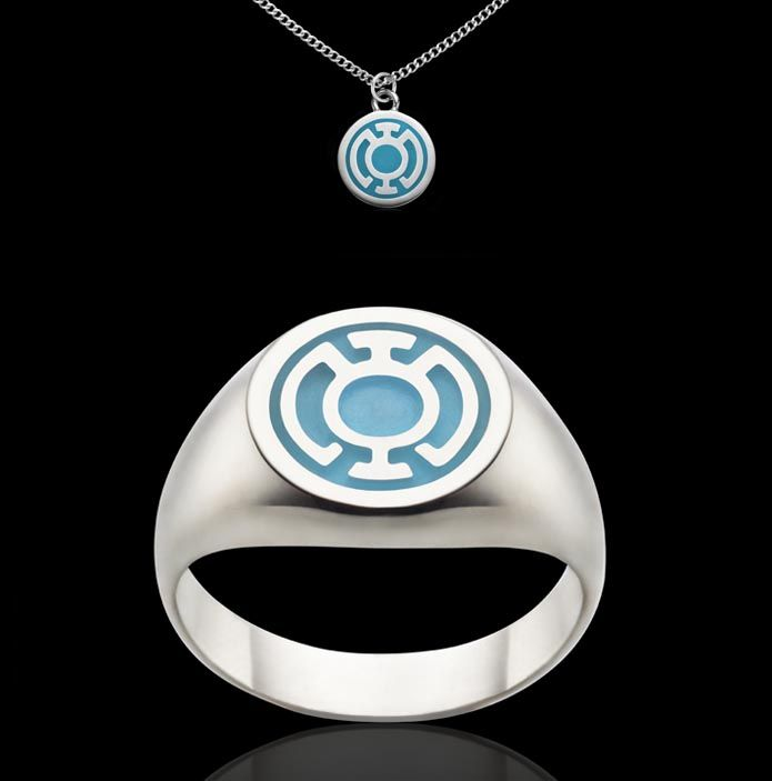 blue lantern corps sterling silver ring and charm