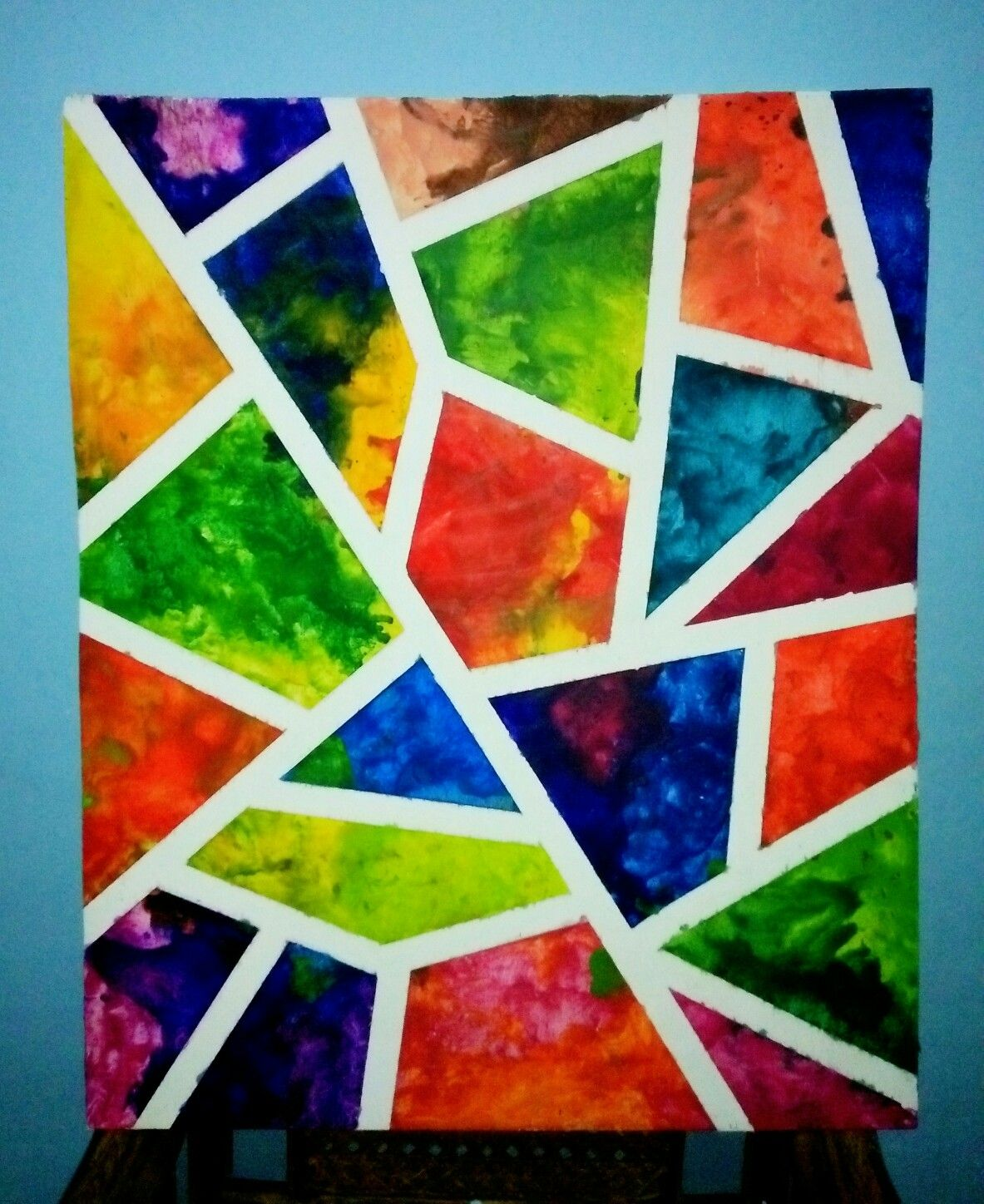Tape Resist And Crayon Art Painting Crayon Art Watercolor Art