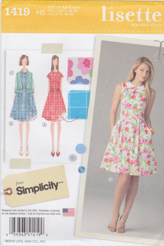 Simplicity Sewing Pattern 1419 Misses\' Dress and Jacket By Lisette ...