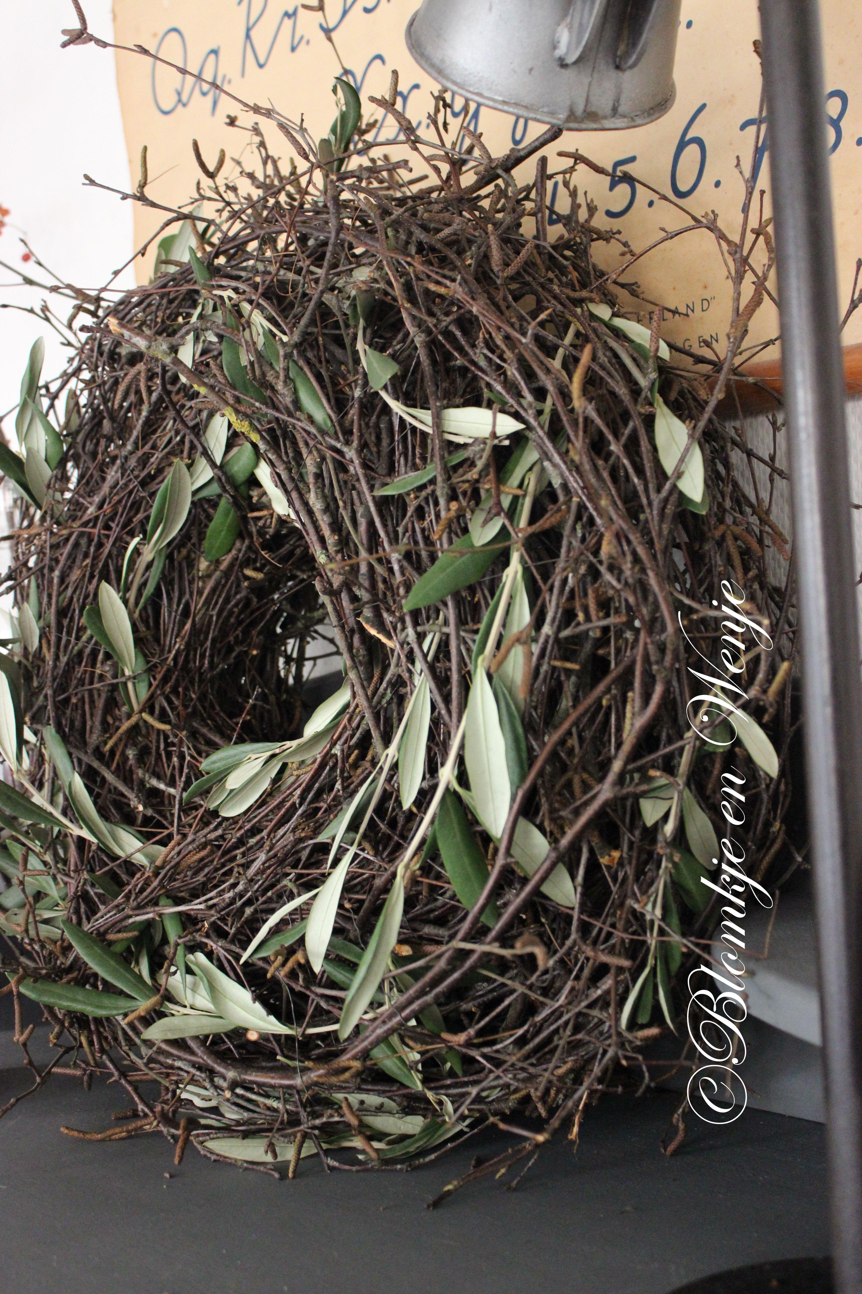 Wreath krans kranz corona olive olijf blomkje en wenje stoer sober landelijk wreaths kranz - Holzkranz dekorieren ...