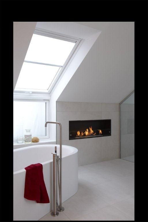 The Montreal bio-ethanol fire creates bathroom bliss...