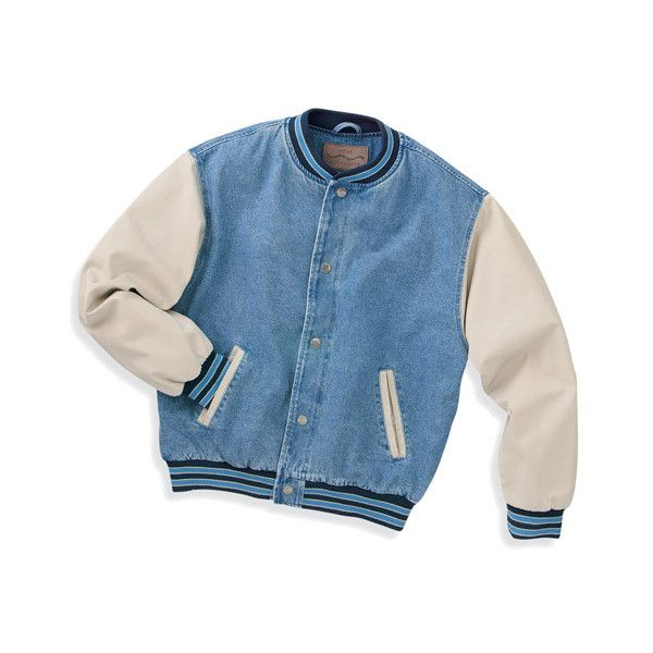 Port Authority Denim And Twill Letterman Jacket 56 Liked On Polyvore Featuring Outerwea Embellished Denim Jacket Embroidered Denim Jacket Denim Jacket Men