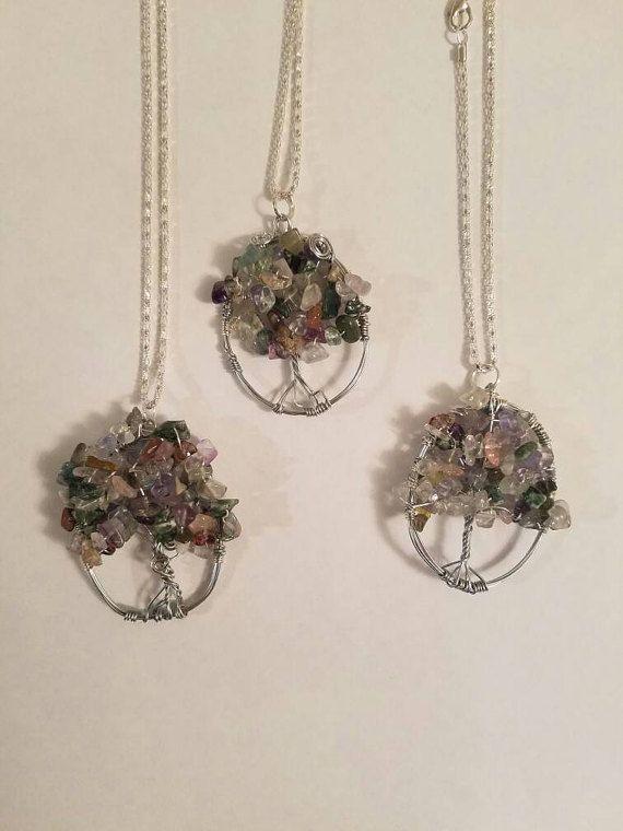 New! Flourite Bead & Copper Wire Wrap Tree of Life Pendant Necklace ...