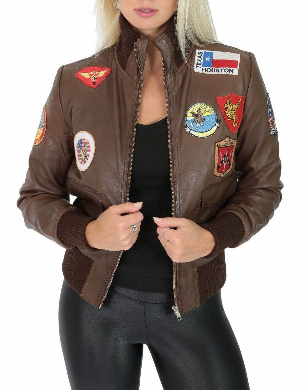 Womens Air Force Badges Brown Leather Bomber Jacket Brown Leather Bomber Jacket Bomber Jacket Women Leather Bomber Jacket Women [ 1245 x 977 Pixel ]