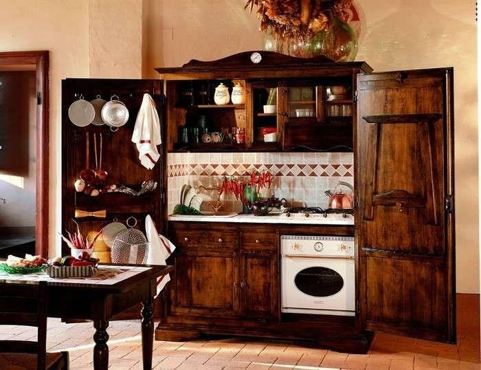 Cucine monoblocco - Cucina monoblocco in legno rustico | Pinterest ...
