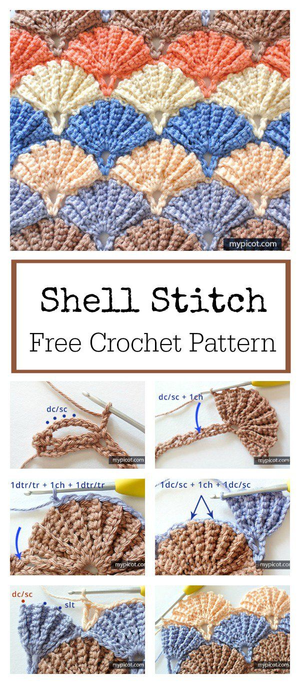 Beautiful Shell Stitch Free Crochet Pattern | Häkeln, Häkelmuster ...