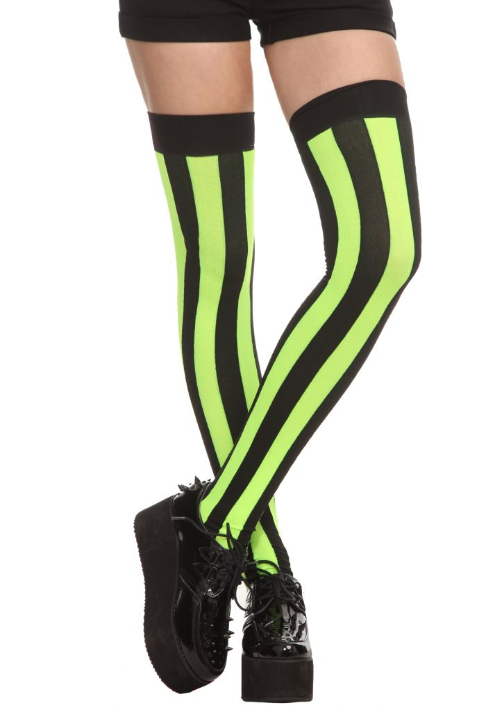4b38bce03 Black thigh highs with lime stripes.