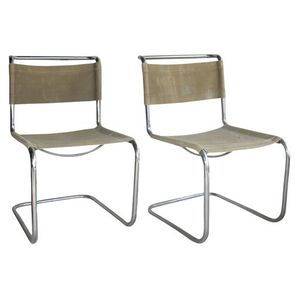 """Pair of 1927 """"B33"""" Chairs by Marcel Breuer"""
