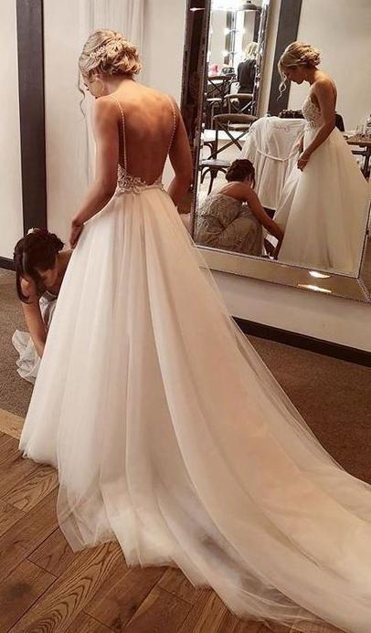 Backless Lace/Tulle Beach Wedding Dress Fashion Custom Made Bridal Dress YDW0043 #backlesscocktaildress
