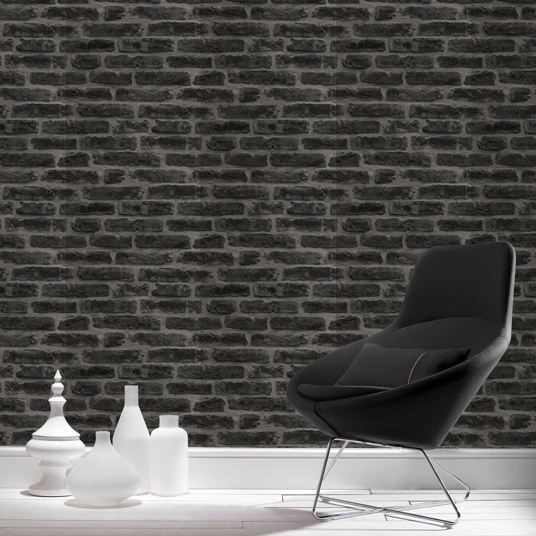 papier peint intiss industry noir leroy merlin salon. Black Bedroom Furniture Sets. Home Design Ideas