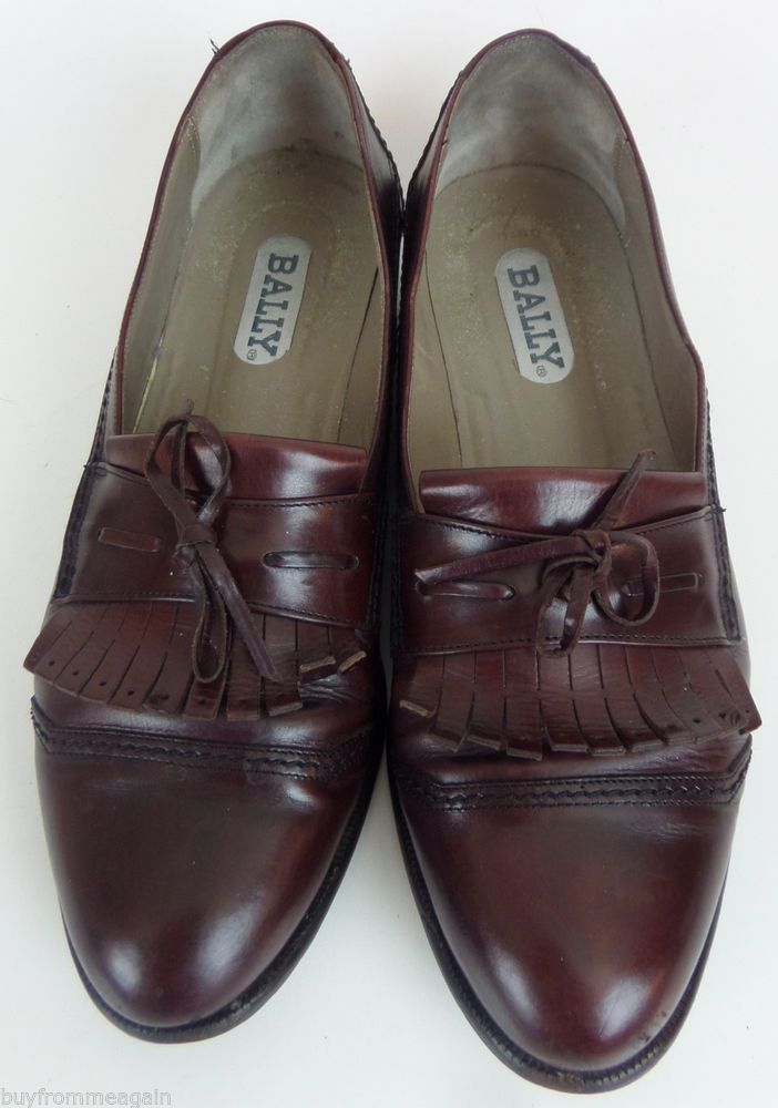 207136c60b1 Bally Brown Shoes Men Loafers Slip On Kilt Leather 10.5 D Made in Italy